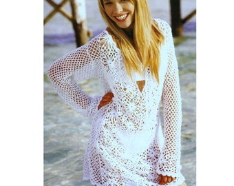 Crochet Pattern Vintage  Mesh and Flower Tunic   Beach Cover Up INSTANT DOWNLOAD PDF