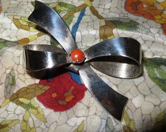 Bow Pink Coral Sterling Silver 925 Brooch 2 1/2 Inches Wide