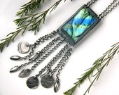 RESERVED - Leaf of the Shimmer Tree - Labradorite Sterling Silver Necklace