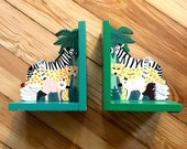 SALE! vintage 70s SAFARI hand painted NURSERY book ends