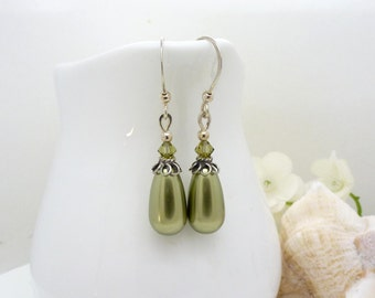 Long olive green pearl earrings, sterling silver, green pearl drop earrings with green crystals