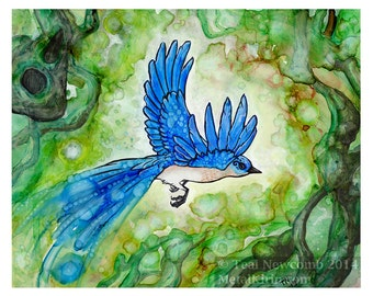 "8""x10"" Open Edition archival art print  ""Bluebird"" bird surreal watercolor art"