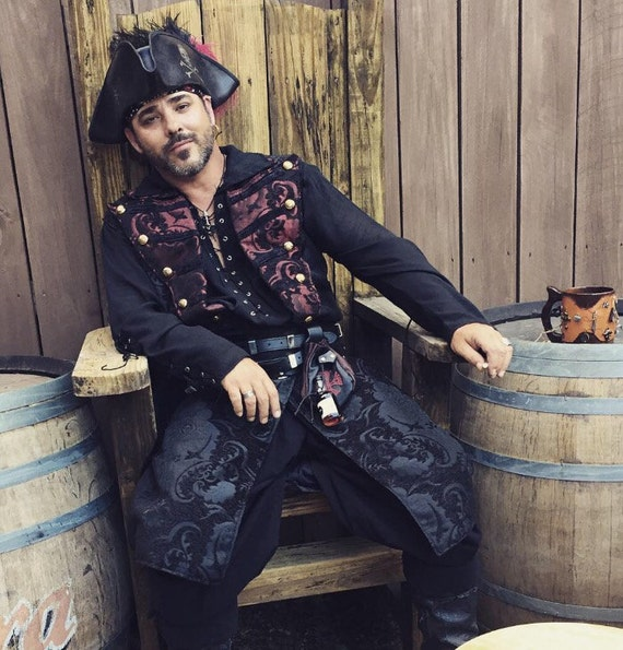 Black Pirate Jacket with Red and Black Lapels