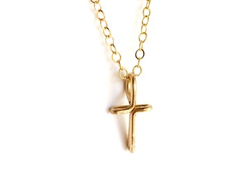Gold Cross Necklace. 14k Gold Filled Cross Necklace