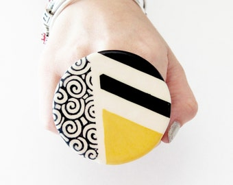 Statement Ceramic Ring -  Big ring, Bold ring, Geometric ring, Spring fashion, Cocktail Ring, Handmade ring by Studioleanne - 2.6 inch