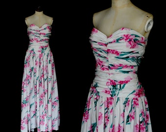 Original Vintage 1950s Horrockses Floral Tea Gown Dress - Size Small - FREE SHIPPING WORLDWIDE