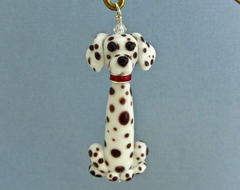 Dalmatian Dog Ornament - Handmade Lampwork Glass SRA