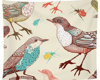 Birds And Beetles Tapestry