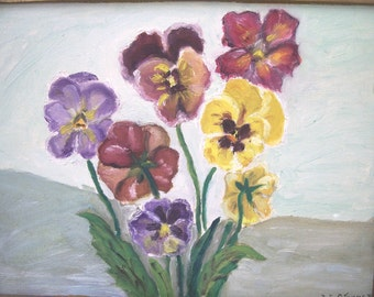 Antique Vintage Floral Oil Painting Pansy Pansies, Signed Dot Stummer