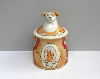 "Ceramic Dog Jar, Red and Orange Lidded Jar with Dog and Squirrel, Animal Pottery, Dog Lover's Gift,  ""Get In Me Belly"""