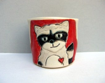 Raccoon Cup, Small, Red and White Cup with Gray Raccoon, Ceramic Shot Glass or Shot Cup or Child's Cup, Woodland Animals, Animal Pottery