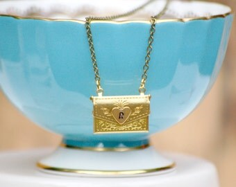 Personalized Envelope Locket Necklace LOVE Letter Locket Initial Monogram Locket  Secret Compartment Bridesmaid Gift Valentine Letter