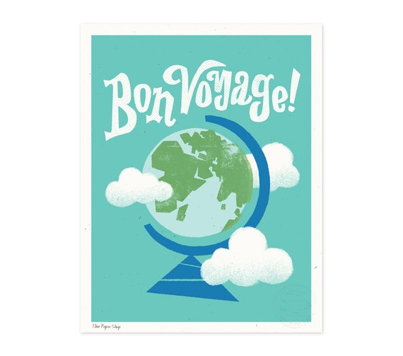 Bon Voyage Illustrated Art Print