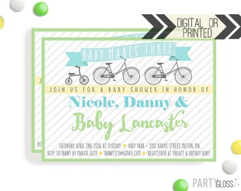 Bicycle Baby Shower Invitation | Digital or Printed |  Bicycle Baby Shower | Bike Invitation |  Baby Makes Three | Gender Neutral Shower