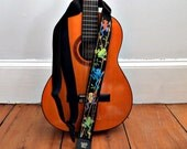 Amazon Rain Forest Tree Frogs Guitar Strap - Hand Embroidered- Custom