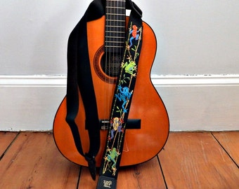 Amazon Rain Forest Tree Frogs Guitar Strap - Hand Embroidered- Custom Made/Personalized/Tropical Colors