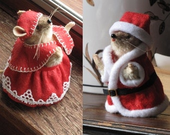 Vintage Pieps Santa Claus and Mrs Claus 5-Piece Christmas Costume - Handmade Pieps Clothes for a Pieps Collection