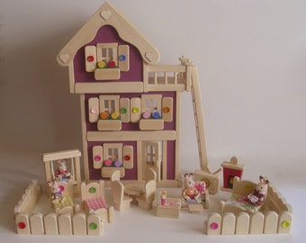 Wooden Doll House, Deluxe 3-Storey Dollhouse set, Natural Wood Toy, Waldorf, Handmade toy, Jacobs Wooden Toys 'AUTUMN PLUM'