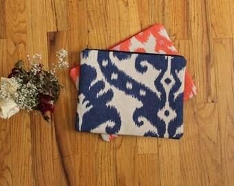 Ikat Clutch / Blue Zipper Pouch / Navy Ikat Clutch/ Cute Purse / Summer Handbag / Zipper Clutch / Casual Purse / Zipper Pouch / Ipad Case