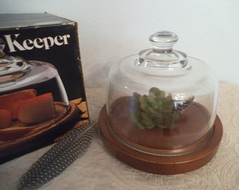 Vintage Mid Century Modern Cheese Keeper ~ Original Box ~ Glass Cloche Dome ~ Leonard Oak and Crystal