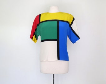 MONDRIAN // bold silk graphic blouse / M L