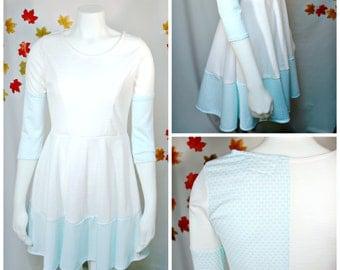 White Dress Circle Skirt-White Dresses for Women-Skater Dress-Skater Skirt-Blue Dress