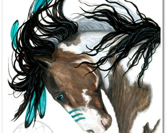 Majestic Pinto Turquoise War Paint Native American Spirit Horse ArT-  Giclee Print by Bihrle mm154