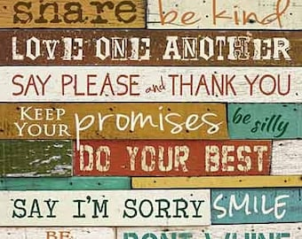 Family Rules,Love One Another,Marla Rae,Wooden Art Sign,12x24