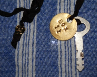 Found Treasures Charm Necklace Antique Steel Key Brass Box 11 Tag Pendant on Silk Ribbon Vintage Findings OOAK