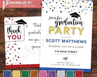 Graduation Announcement Party Invitation + Thank You Template Glitter Package // Personalized Printable Download // 5x7 -OR- 4x6