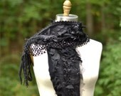Cashmere distressed black SCARF SHAWL Wrap with ruffles, fringes, lace appliqués. Boho OOAK accessory