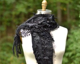 Cashmere long black SCARF SHAWL Wrap/ ruffles, fringes, lace appliqués. Boho OOAK accessory, Dolly Kei Goth Lolita, steampunk tattered wrap