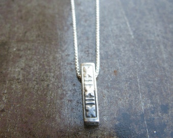 SA-N-12 Sterling silver tribal pendant on box chain half oxidized