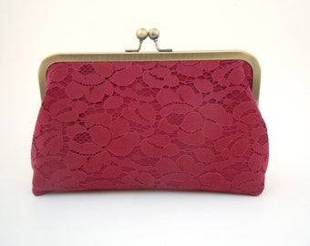 Wedding Clutch, Bridal Purse, Burgundy Wine Lace, Makeup Bag, Bridesmaids Gift