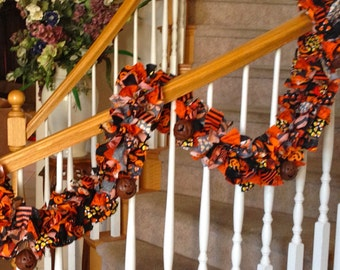 7 feet long Halloween Garland with ornaments, Party decoration,Halloween decoration,Fabric Garland,Halloween Garland,Garland for Halloween