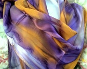 Scarf, Silk, Women, Hand Dyed, Mardi Gras Silk Scarf, Purple Gold Silver