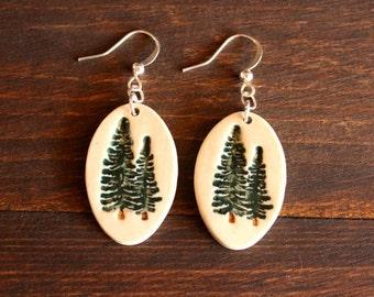Lovely Handmade Porcelain Jewelry PINE Tree Earrings