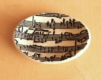 Ceramic Sheet Music Ring Dish - Small Handmade Oval Porcelain B&W Sheet Music Dish - Ready To Ship