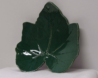 Rich Blue Green Cucumber Impressed Leaf Plate Dish