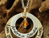 ON SALE Hand Stamped Jewelry, Personalized Necklace, Love you to the Moon and Back, Mommy Jewelry, Gold Necklace, Mommy Necklace
