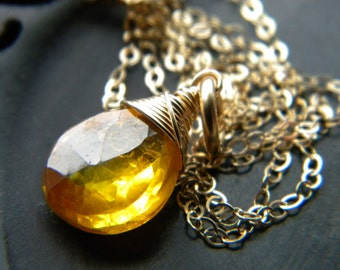Canary yellow zircon wire wrapped briolette gemstone necklace - handmade gold filled jewelry