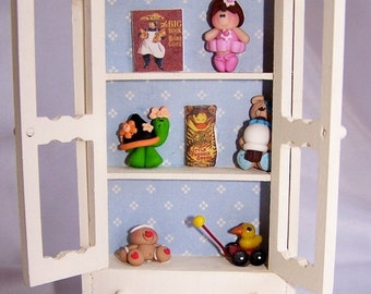 ON SALE Dollhouse Furniture, Playroom Hutch, Toy Cabinet, Mixed Media, Children, Miniature Furniture, Miniature toys, Dollhouse, Free Shippi
