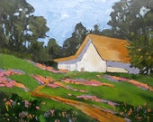 Impressionist California Landscape Oil Painting Old Barn Spring Flowers Lynne French 16x20