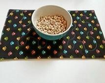 Pet Food Mat, Set of 2, OOAK, Ready to Ship, Dog Placemat, Cat Placemat, Dog Food Mat, Gift for Pet, Dog Mat, Pet Food Mat, Quiltsy Handmade