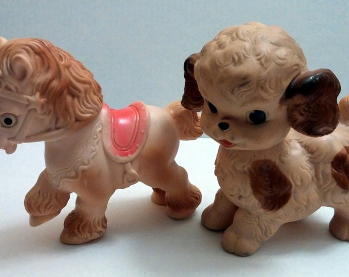 Antique Toys, 1950's Rubber Toys Vintage Pony and Puppy Squeak Toys Sun Rubber Company 1950's