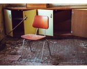Abandoned Building Photography Detroit Art Orange Art Abandoned Photography Urban Exploration Lonely Chair Print Bright Photography 5x7 Art