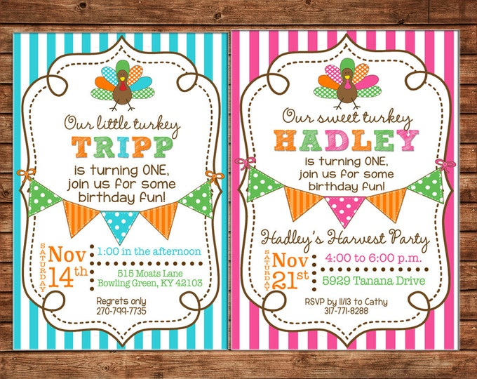 Boy or Girl Invitation Turkey Fall Thanksgiving Shower Birthday Party - Can personalize colors /wording - Printable File or Printed Cards