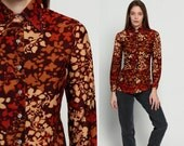 Floral Blouse Button Up Shirt 70s Disco Top LEAF PRINT Collar Hipster Boho Hippie Long Sleeve 1970s Bohemian Brown Vintage Extra Small Xs