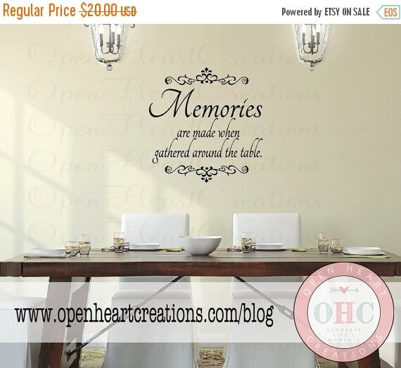 On sale dining room wall decal quote by openheartcreations for Dining room wall quote decals