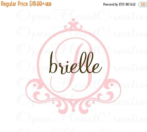 ON SALE Shabby Chic Initial and Name Vinyl Wall Decal with Frame Border - Baby Nursery Monogram Vinyl Lettering Decal Sticker FN0207
